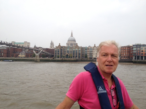 Stuart looking very stylish on a summer Thames cruise
