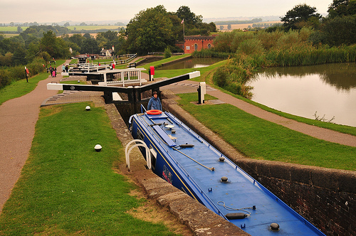 The Foxton flight of ten staircase locks
