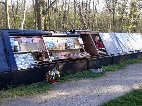Alison on board floating shop Lowry