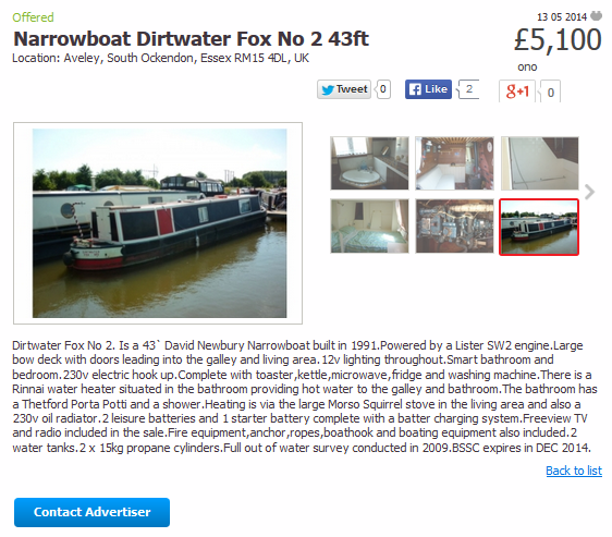 Bogus Narrowboat Advert
