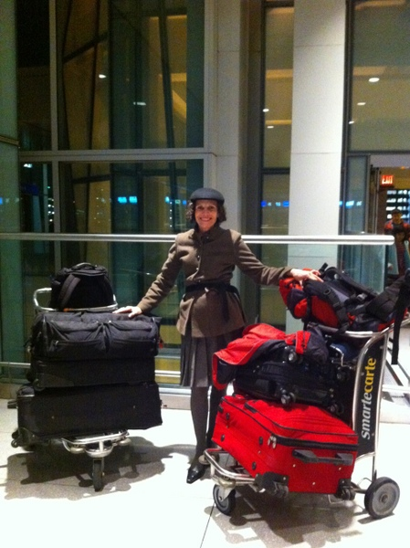 Cynthia at Logan airport packed for a life afloat