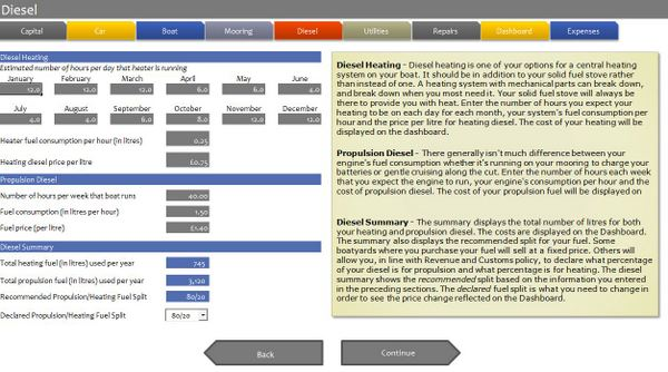 Narrowboat budget software - Diesel