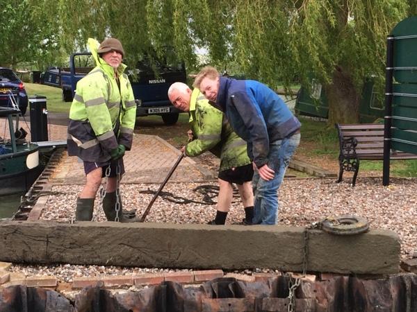 Replacing a marina entrance railway sleeper
