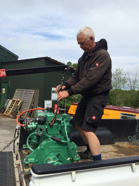Delivering a reconditioned engine to Whitworth marina