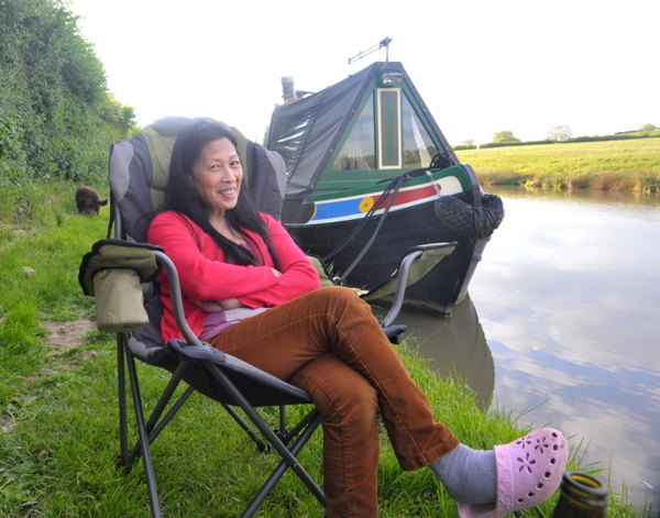 Sally relaxing just outside Braunston