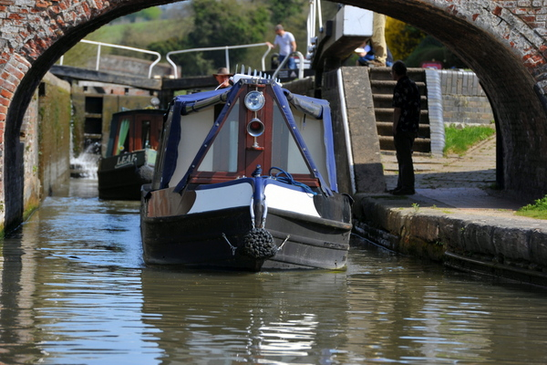 Boats approaching our mooring at Wharf House Narrowboats as they leave Braunston Bottom lock