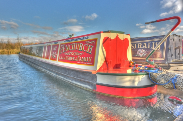 Traditional stern narrowboat at Calcutt Boats Meadows Marina