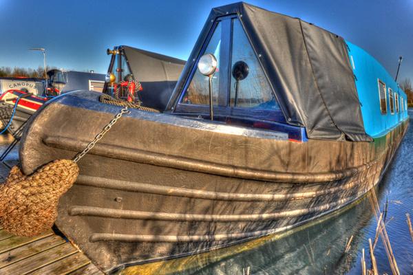 James on its mooring at Calcutt Boats Meadows marina