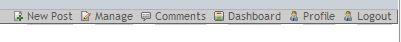 Wordpress menu bar logged in