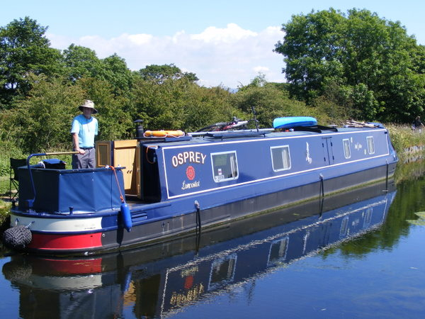 Narrowboat Osprey on a Lancaster canal mooring