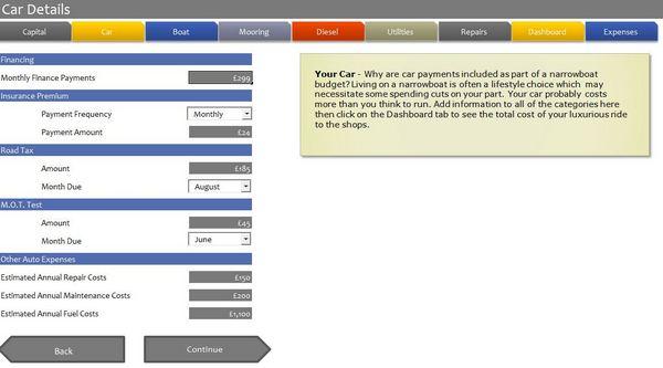 Narrowboat Budget Software - Car Details