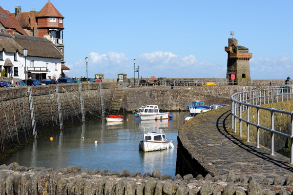 Lynton harbour on an early spring day