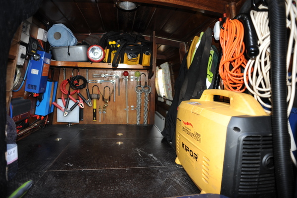 Our trad stern engine room. Where would you put all of this on a cruiser stern boat?