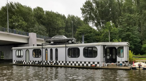 A quirky houseboat on Amsterdam's river Amstel