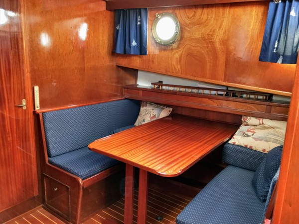 The dinette - currently one of just two heated areas on board