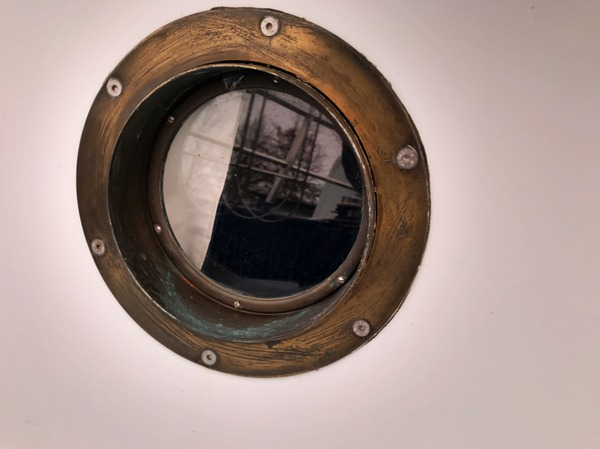 An hour into my first porthole. Just two more hours to go... and then I can work on the remaining nine portholes