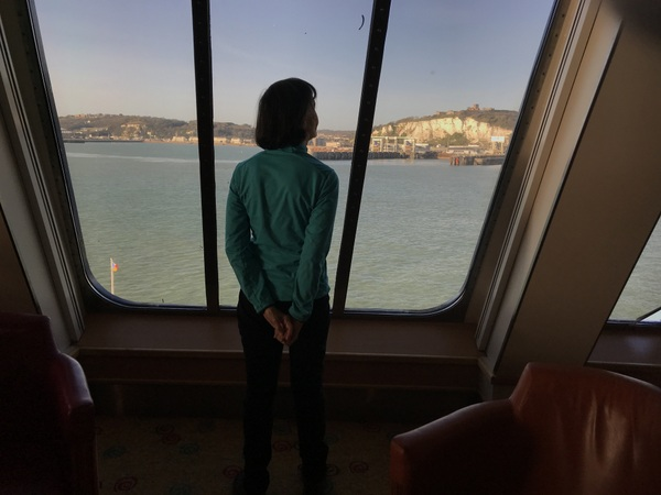 Crossing the English Channel - Cynthia gazes longingly at the white cliffs of Dover