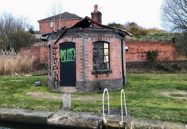 The burned out toll house at Smethwick