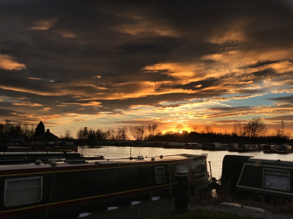 Sunset over Calcutt Boats Locks marina