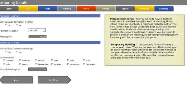 Narrowboat Budgeting Software - Mooring Details
