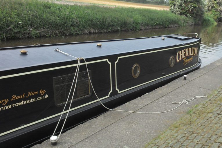 A narrowboat centre line used for temporary mooring