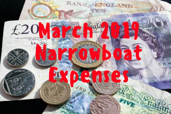 Narrowboat expenses for March 2013, 2016 and 2019