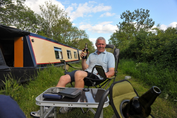Relaxing with a beer near Brinklow marina entrance