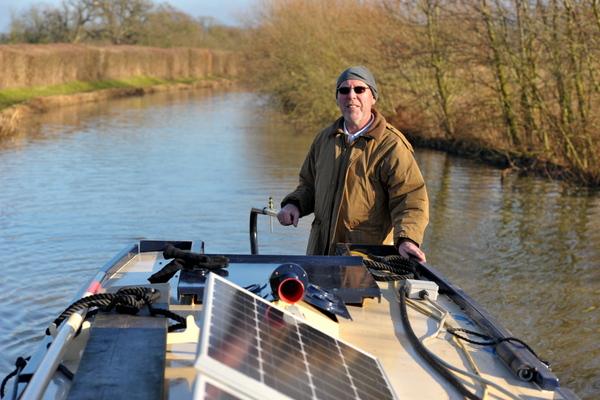 Len Goodwin enjoying stunning January sunshine on the cut
