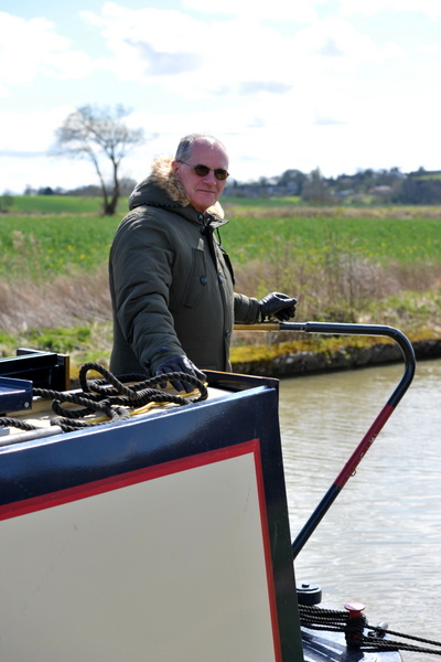 Steve Manders enjoying his narrowboat discovery day