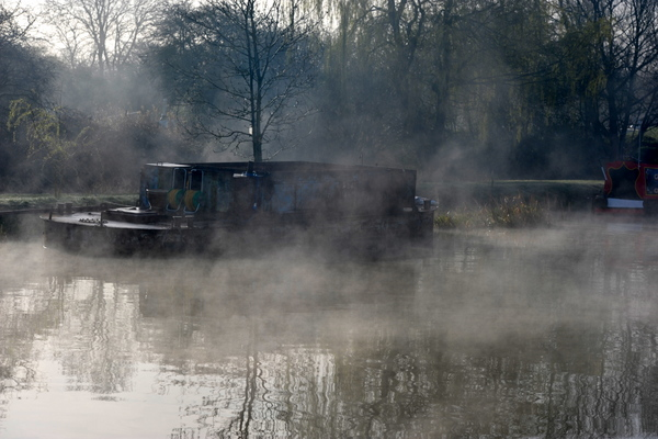 Our mist shrouded mooring early on Monday morning