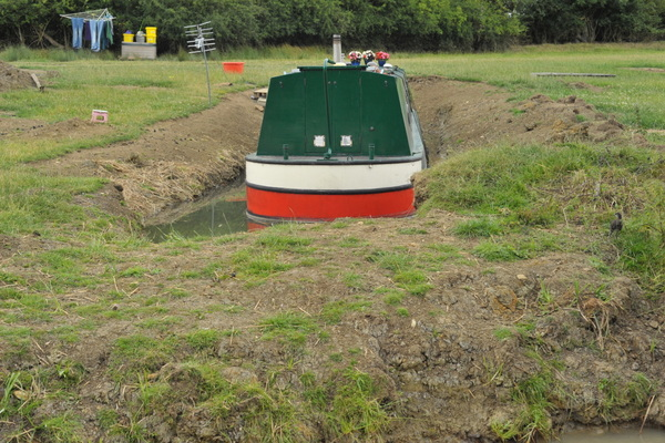 A rear view - The channel has been filled in behind the boat
