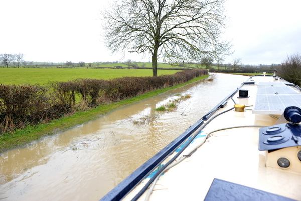 A flooded towpath close to Braunston junction
