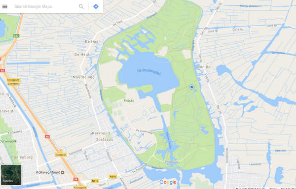 The waterways surrounding our Den Ilp car park. The blue dot shows our location.
