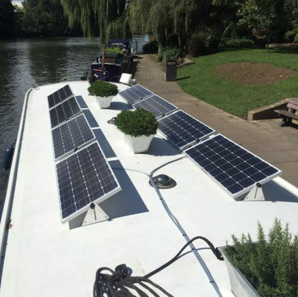 8 solar panels on a hotel boat