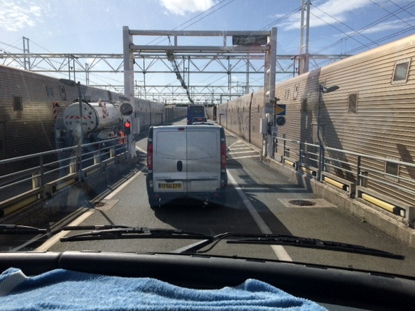 Driving onto a train at Calais