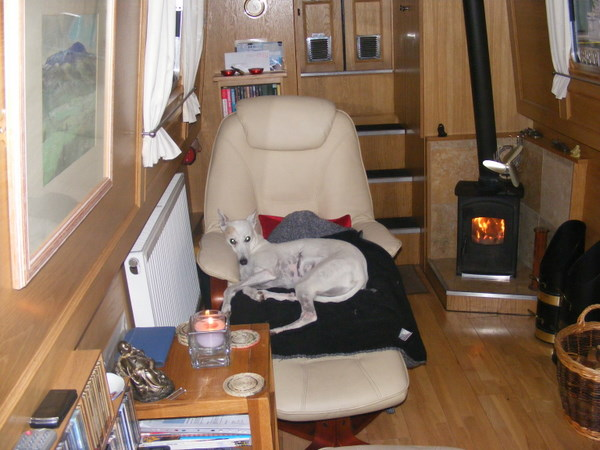 Inside narrowboat Osprey