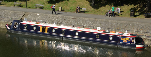 Narrowboat Tournesal moored at Bath Weir